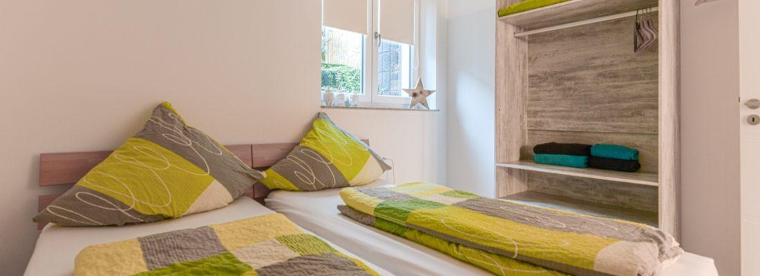 Schlafzimmer, die Betten können auch getrennt gestellt werden