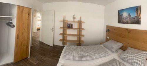 Die Betten im Schlafzimmer der Ferienwohnung Heppenheim können auch zusammesgestellt werden